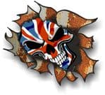 Ripped Torn Metal Rusty Design With UK British Flag Skull Motif External Vinyl Car Sticker 105x130mm