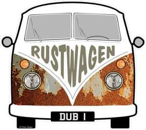 RUSTWAGEN Funny Slogan For Retro SPLIT SCREEN VW Camper Van Bus Design External Vinyl Car Sticker 90x80mm