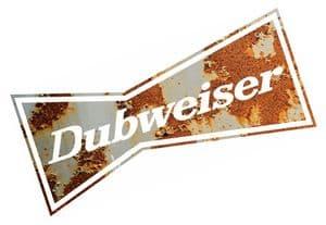 RUSTY DUBWEISER Funny Parody Design For Rat Look VW Vinyl Car sticker decal 130x60mm