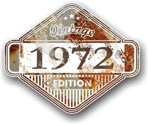 Rusty Patina Aged Vintage Edition  Year 1972 Design Vinyl Car sticker decal  85x70mm