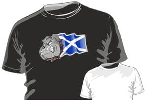 Scotland Scottish Saltire Flag with Buldog Motif Fun Novelty Design for mens or ladyfit t-shirt