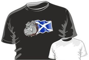 Scotland Scottish Saltire Flag with Buldog Motif Fun Novelty Design for mens or ladyfit t-shirt