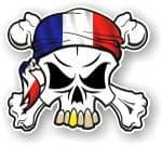 SKULL  & Crossbones  Head Bandanna With French Flag External Vinyl Car Sticker 90x80mm