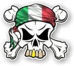 SKULL  & Crossbones  Head Bandanna With Italian Flag External Vinyl Car Sticker 90x80mm