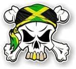 SKULL  & Crossbones  Head Bandanna With Jamaican Flag External Vinyl Car Sticker 90x80mm