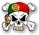 SKULL  & Crossbones  Head Bandanna With Portuguese Flag  External Vinyl Car Sticker 90x80mm