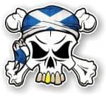 SKULL  & Crossbones  Head Bandanna With Scottish Flag External Vinyl Car Sticker 90x80mm