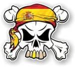 SKULL  & Crossbones  Head Bandanna With Spanish Flag External Vinyl Car Sticker 90x80mm