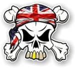 SKULL  & Crossbones  Head Bandanna With Union Jack British Flag External Vinyl Car Sticker 90x80mm