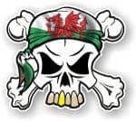 SKULL  & Crossbones  Head Bandanna With Welsh CYMRU Flag External Vinyl Car Sticker 90x80mm