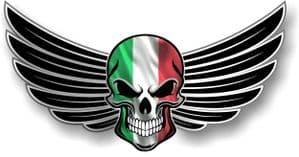 SKULL With Wings Motif  &  Italy Italian il Tricolore Flag External Vinyl Car Sticker 150x80mm