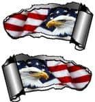 Small Pair Ripped Torn Metal Gash Design & American Eagle & US Flag Vinyl Car Sticker 93x50mm each