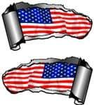 Small Pair Ripped Torn Metal Gash Design & American Stars & Stripes US Flag Car Sticker 93x50mm each