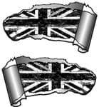 Small Pair Ripped Torn Metal Gash Design & B&W Grunge Union Jack Vinyl Car Sticker 93x50mm each