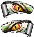 Small Pair Ripped Torn Metal Gash Design & Evil Eye Monster Vinyl Car Sticker 93x50mm each