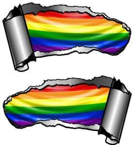 Small Pair Ripped Torn Metal Gash Design & Gay Pride LGBT Rainbow Flag Vinyl Car Sticker 93x50mm ea