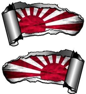 Small Pair Ripped Torn Metal Gash Design & Japanese Rising Sun Flag Vinyl Car Sticker 93x50mm each