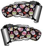 Small Pair Ripped Torn Metal Gash Design & Mexican Sugar Skull Pattern Vinyl Car Sticker 93x50mm ea