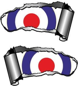 Small Pair Ripped Torn Metal Gash Design & RAF Style MOD Target Vinyl Car Sticker 93x50mm each