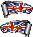 Small Pair Ripped Torn Metal Gash Design & Union Jack British Flag Vinyl Car Sticker 93x50mm each