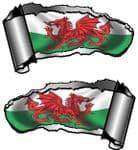 Small Pair Ripped Torn Metal Gash Design & Welsh Wales CYMRU Flag Vinyl Car Sticker 93x50mm each