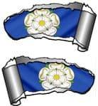 Small Pair Ripped Torn Metal Gash Design & Yorkshire Rose York Flag Vinyl Car Sticker 93x50mm each