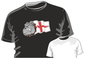 St. Georges Cross England Flag With British Bulldog Motif Fun Novelty Design for mens or ladyfit t-shirt