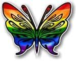 Tribal Butterfly With LGBT Gay Pride Flag Vinyl Car Sticker 120x95mm