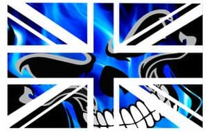 UK British Union Jack Flag Design With Blue Flaming Skull Vinyl Car Sticker Decal 110x70mm