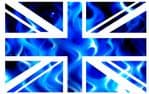 UK British Union Jack Flag Design With Electric Blue Flames Vinyl Car Sticker Decal 110x70mm