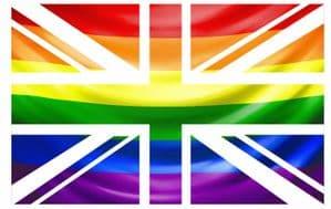 UK British Union Jack Flag Design With LGBT Gay Pride Rainbow Flag Vinyl Car Sticker Decal 110x70mm
