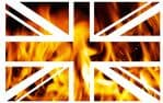 UK British Union Jack Flag Design With Realistic Orange Flames Vinyl Car Sticker Decal 110x70mm