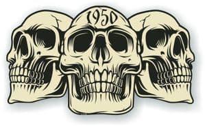 Vintage Biker 3 Gothic Skulls Year Dated Skull 1950 Cafe Racer Helmet Vinyl Car Sticker 120x70mm