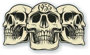 Vintage Biker 3 Gothic Skulls Year Dated Skull 1955 Cafe Racer Helmet Vinyl Car Sticker 120x70mm