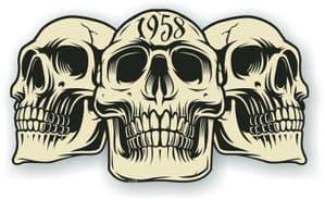 Vintage Biker 3 Gothic Skulls Year Dated Skull 1958 Cafe Racer Helmet Vinyl Car Sticker 120x70mm
