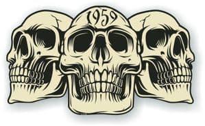 Vintage Biker 3 Gothic Skulls Year Dated Skull 1959 Cafe Racer Helmet Vinyl Car Sticker 120x70mm