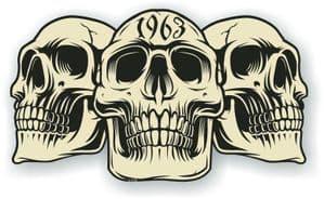 Vintage Biker 3 Gothic Skulls Year Dated Skull 1963 Cafe Racer Helmet Vinyl Car Sticker 120x70mm