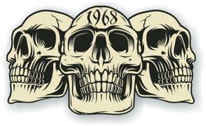 Vintage Biker 3 Gothic Skulls Year Dated Skull 1968 Cafe Racer Helmet Vinyl Car Sticker 120x70mm