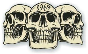 Vintage Biker 3 Gothic Skulls Year Dated Skull 1969 Cafe Racer Helmet Vinyl Car Sticker 120x70mm