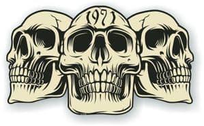 Vintage Biker 3 Gothic Skulls Year Dated Skull 1971 Cafe Racer Helmet Vinyl Car Sticker 120x70mm