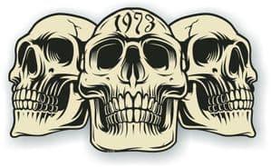 Vintage Biker 3 Gothic Skulls Year Dated Skull 1973 Cafe Racer Helmet Vinyl Car Sticker 120x70mm