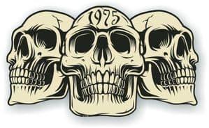Vintage Biker 3 Gothic Skulls Year Dated Skull 1975 Cafe Racer Helmet Vinyl Car Sticker 120x70mm