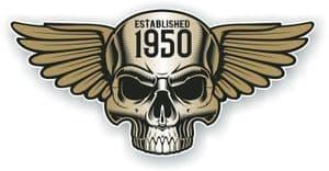 Vintage Biker Skull With Wings Established 1950 Cafe Racer Motorcycle Vinyl Sticker Decal 125x60mm