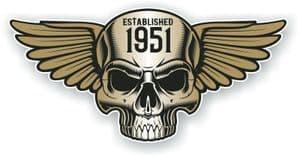 Vintage Biker Skull With Wings Established 1951 Cafe Racer Motorcycle Vinyl Sticker Decal 125x60mm