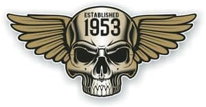 Vintage Biker Skull With Wings Established 1953 Cafe Racer Motorcycle Vinyl Sticker Decal 125x60mm