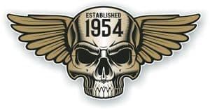 Vintage Biker Skull With Wings Established 1954 Cafe Racer Motorcycle Vinyl Sticker Decal 125x60mm