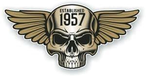 Vintage Biker Skull With Wings Established 1957 Cafe Racer Motorcycle Vinyl Sticker Decal 125x60mm