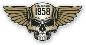 Vintage Biker Skull With Wings Established 1958 Cafe Racer Motorcycle Vinyl Sticker Decal 125x60mm