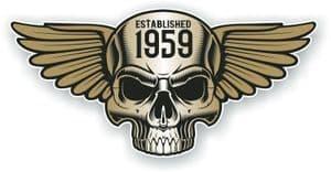 Vintage Biker Skull With Wings Established 1959 Cafe Racer Motorcycle Vinyl Sticker Decal 125x60mm