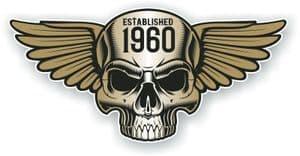 Vintage Biker Skull With Wings Established 1960 Cafe Racer Motorcycle Vinyl Sticker Decal 125x60mm